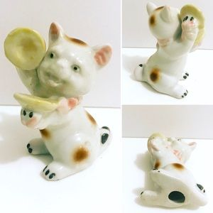 Vintage kitten playing the cymbals figurine decor